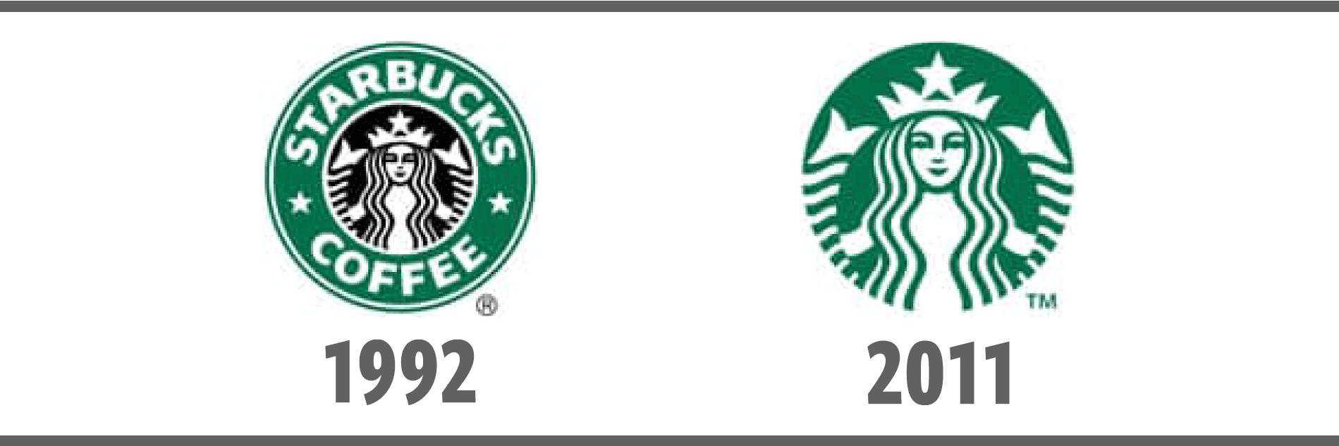 スターバックスのロゴ(1992年版と2011年版)